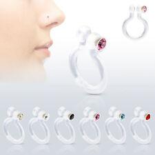Bio Flex Fake Nose Ring Hoop Non No Piercing Clip On With Gem Cz 1 Piece