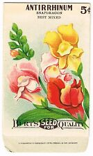 VINTAGE SEED PACKET FLOWERS 1916 GENERAL STORE GARDEN SCARCE SNAPDRAGON MIXED