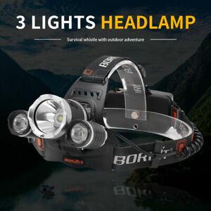 BORUiT USB 3xxm-l2 LED Headlamp Rj-5000 Headlight Flashlight 4 Modes Head Torch