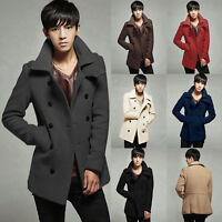 Fashion Mens Slim Coat Double Breasted Peacoat Long Jacket Winter Outwear Trench