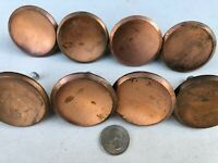 "8 MCM Vintage 2"" Round Concave Gold Brass Kitchen Cabinet Drawer Pull Knobs"