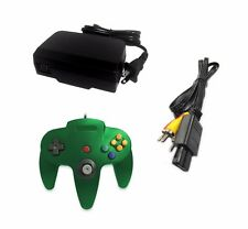 AC Adapter + Green Controller + AV Cable Cord Bundle for Nintendo 64 N64