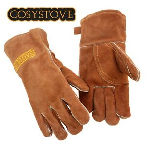 Cosystove Woodburning Stove Gloves Heat Resistant Burner Gauntlets Pair Log Fire