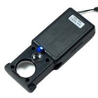 Mini Illuminated 30X 60X Jewelers Loupe Magnifier with LED UV Lights Hot Sale