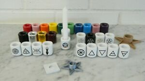 Ceramic Chimes RITUAL CANDLE & HOLDER: 32 Choices Wicca Pagan New Styles (Read)