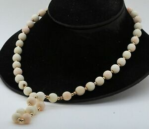14K gold beautiful 10 to 11.3mm Angel skin coral & gold bead strand necklace