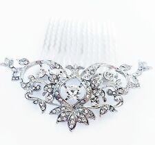 USA Hair Comb Rhinestone Crystal Bridal wedding Vintage Party Fancy Silver New 2