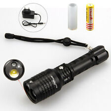 Tactical 2000LM LTS LED Zoomable Flashlight Torch &Green Laser+18650+AC Charger