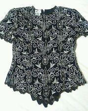 White black brown gold top blouse , beads flower design,silk polyester Stenay