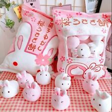 1Pcs Cute Rabbit Plush Pillows With 8 Small Pudding Bunny Plush Toys Gift