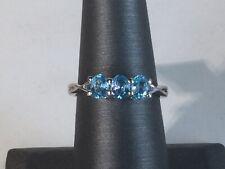 Size 7 Blue Zircon Sterling Silver Ring TGW 1.54 Cts