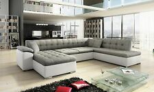 scafati fabric & leather corner sofa, bed, black grey white,