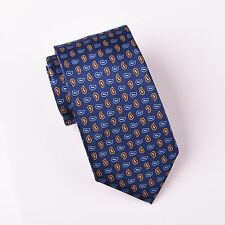 Orange & Blue Alternating Contrast Paisley Floral Designer Fashion 3 Tie Necktie