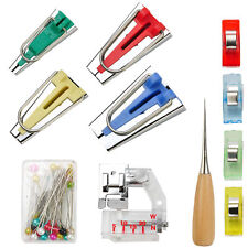 Bias Tape Maker Set Kit pour coudre Quilting alêne et Liant Pied Case Tools