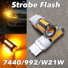 STROBE FLASH Rear Turn Signal T20 7440 7441 992 W21W 33 SMD LED AMBER Bulb W1 J