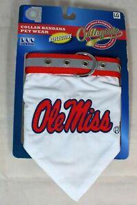 NCAA (University of Mississippi) Ole Miss - Pet Reflective Bandana Collar -(L)