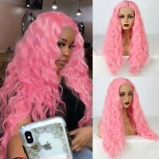 US 24inch Synthetic hair Glueless Lace front wigs  Women Peach Pink Long Wavy