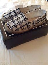 New Karl Lagerfeld Women Espadrilles Knit Boucle Black & White Shoes SZ 6.5