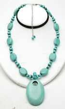 """Unusual Turquoise Color Necklace With Big Real Stones 18"""" Long W/ 4,5"""" Extension"""