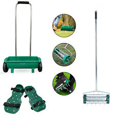 More details for garden lawn roller aerator/spiker shoe & soil seed grit fertiliser feed spreader
