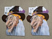 Set of 2 New Vintage 1988 Die Cut Witch Pirate Decoration Peck USA Halloween