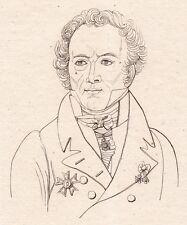 Portrait XIXe Général Maximilien Sébastien Foy Napoléon Bonaparte Empire 1821