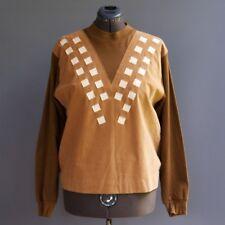 Vtg 60s 70s Basket Weave Pleather Cognac Faux Suede Sweater Beach Boy M L