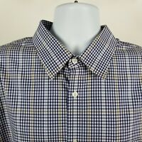 Nordstrom Regular Fit Wrinkle Free Mens Blue Check Dress Button Shirt Sz 2XL XXL