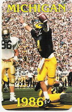 1986 UNIV OF MICHIGAN WOLVERINES FOOTBALL SCHEDULE W/ JIM HARBAUGH ON THE FRONT!
