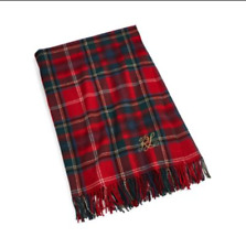 "Ralph Lauren Home - Leinster Plaid Throw Blanket Red - 54"" x 72"""