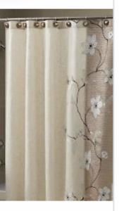 Croscill Magnolia bronze Fabric Shower Curtain 70 X 72
