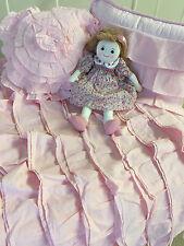 3 pc Girls Shabby Chic Pink Ruffle Frill Cot Crib Quilt 2 Cushions Baby Nursery