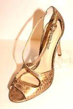 Alexandre Birman Women's Size 8.5 Gold Snakeskin Peep Toe Ankle Strap Pump Heel