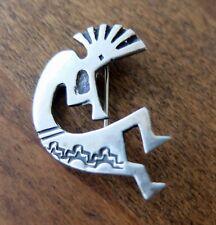Vintage Navajo Nusie Belon Sterling Silver Kokopelli Brooch Fertility Deity