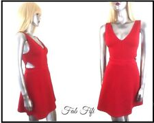 Divided Red Mini Dress Cut Out Waist Detail Textured ~ Medium 12