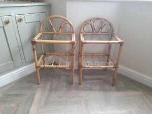 Pair of Bamboo Cane Side Tables with  Glass Top, Plant, Bedside, Boho Vintage