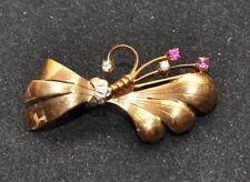 Spilla donna Oro 750 18 Kt rose di diamante rubini naturali vintage