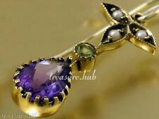 E152 Genuine 9K Yellow Gold Natural Amethyst Peridot Pearl Earrings Suffragette