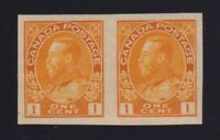 Canada Sc #136 (1924) 1c yellow Admiral Imperforate Pair Mint VF NH MNH