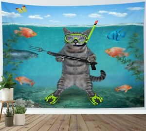 Funny Diving Cat Tapestry Tropical Ocean Fish Wall Hanging Home Bedspread Cover