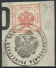 1858-59 LOMBARDO VENETO GIORNALI 2 K SU FRAMMENTO CERTIFICATO ALBERTO DIENA - X2