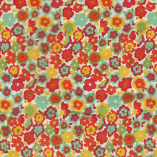 Tiny Flowers Red Green Orange Fabric 100% Cotton Scrap Quilt Sew Craft