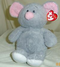 Ty Pluffies Squeakies Plush Mouse Grey Tylux Pink Nose Ears White Feet 2007 LNWT