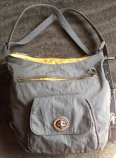 """BAGGALLINI """"BRUSSELS"""" 3-WAY BAG ~ Pewter Gray w/ Mimosa Yellow Lining"""