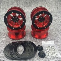 "ROCK CRAWLER BEADLOCK WHEEL ALLOY 2.2"" WHEEL RIM 4PCS RED FOR AXIAL WRAITH SCX10"