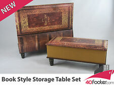 Brand NEW Antique look book style blanket box trunk table chest set of two.