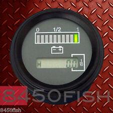 """24 Volt Battery Indicator w/ Hour Meter, Gauge -Tri-color - 2"""" ROUND"""
