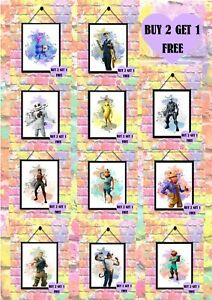 BUY 2 GET 1 FREE Fortnite Print Character Watercolour Poster Wall Art A4