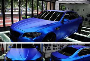 Matte Satin Stretch Chrome Blue Air Bubble Free Vinyl Film Car Wrap 1.52m x 0.3m