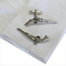 Pewter Pistols CUFFLINKS Gun Cowboy Shooter Party Christmas Present GIFT Box